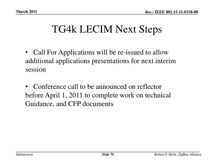 TG4k LECIM Next Steps