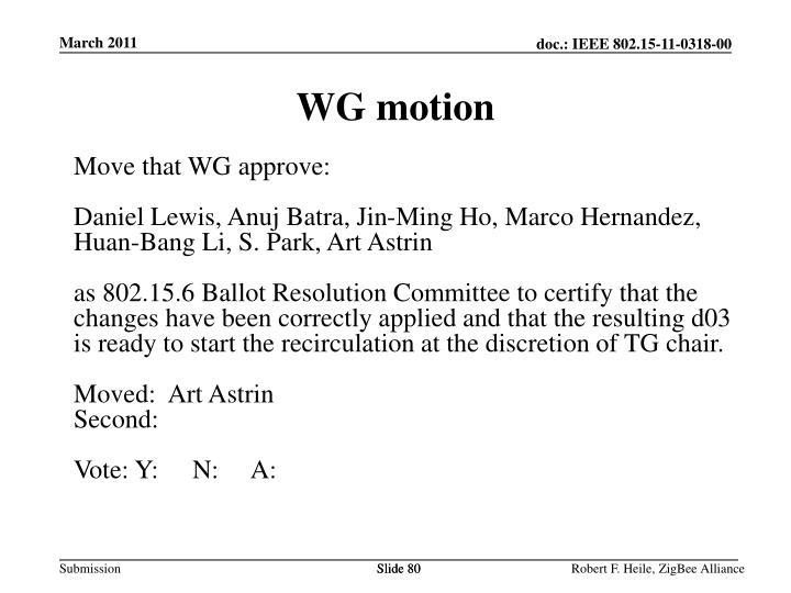 WG motion