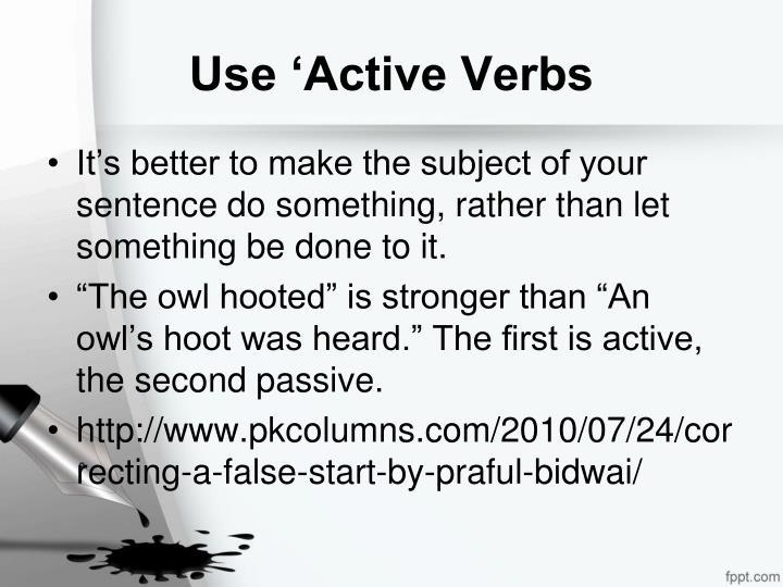Use 'Active Verbs
