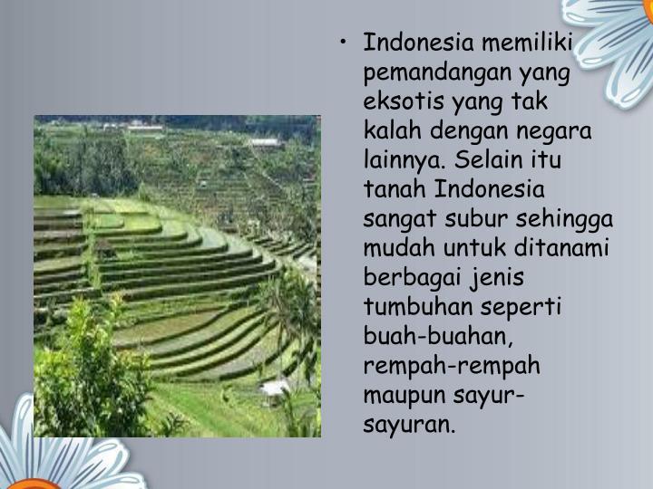 Indonesia memiliki pemandangan yang eksotis yang tak kalah dengan negara lainnya. Selain itu tanah Indonesia sangat subur sehingga mudah untuk ditanami berbagai jenis tumbuhan seperti buah-buahan, rempah-rempah maupun sayur-sayuran.