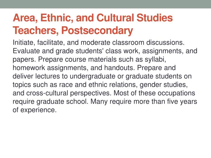 Area, Ethnic, and Cultural Studies Teachers, Postsecondary
