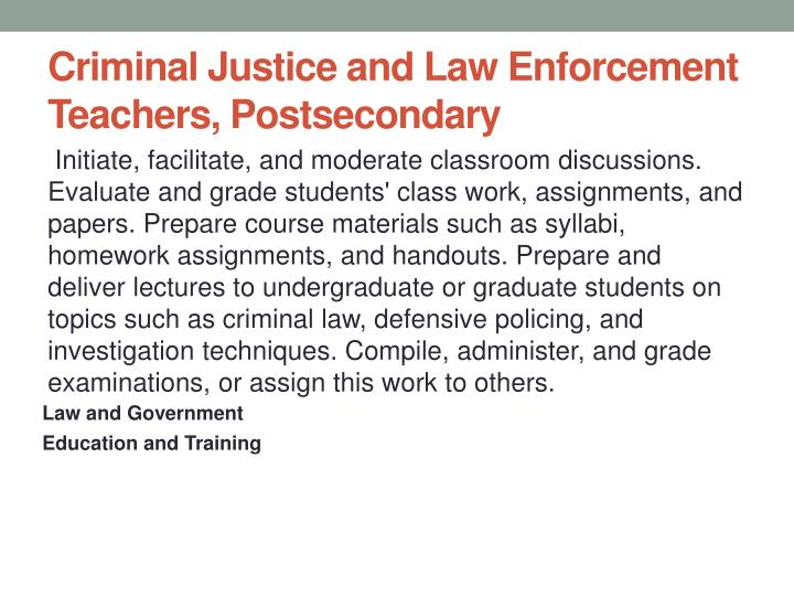 Criminal Justice and Law Enforcement Teachers, Postsecondary