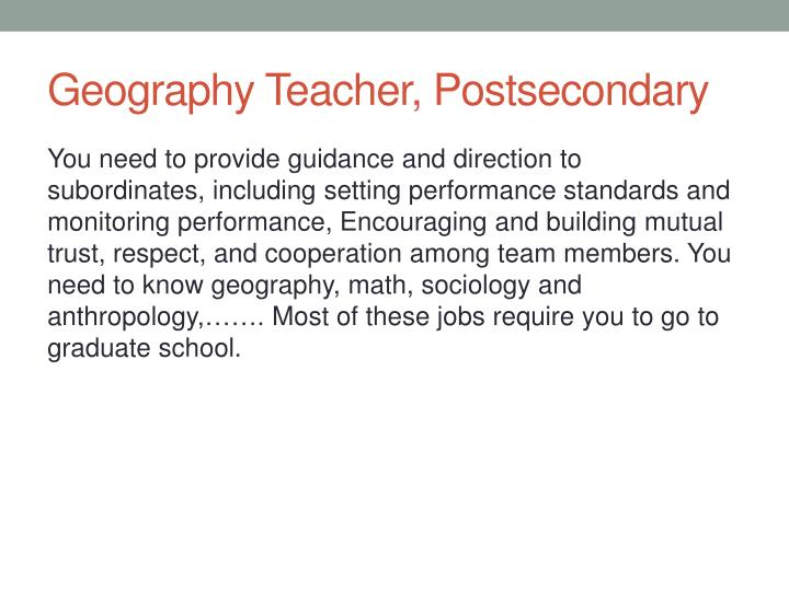 Geography Teacher, Postsecondary