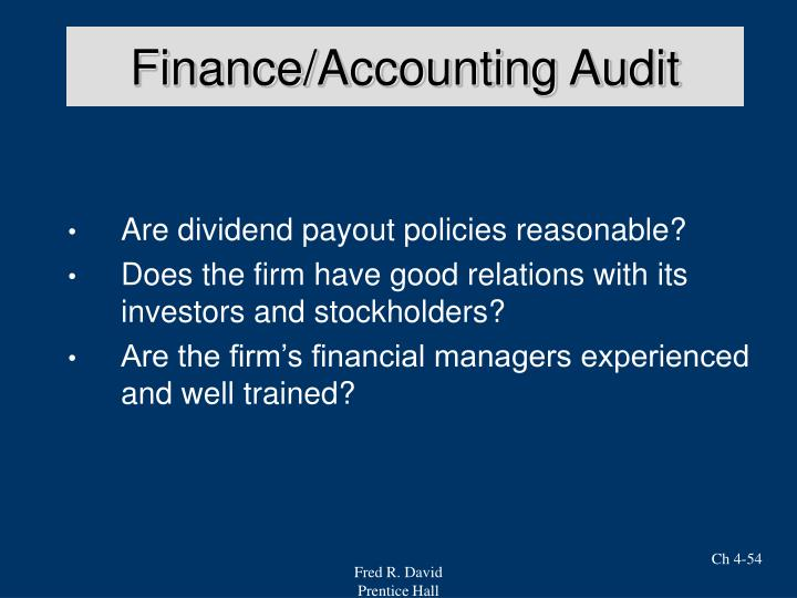 Finance/Accounting Audit