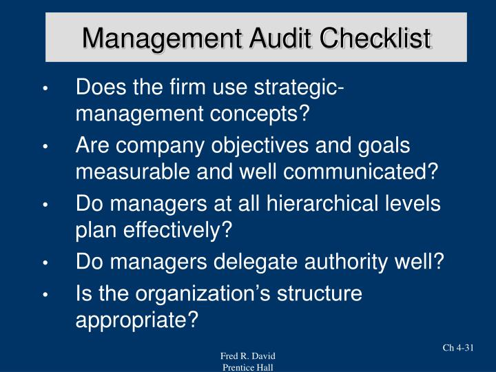 Management Audit Checklist