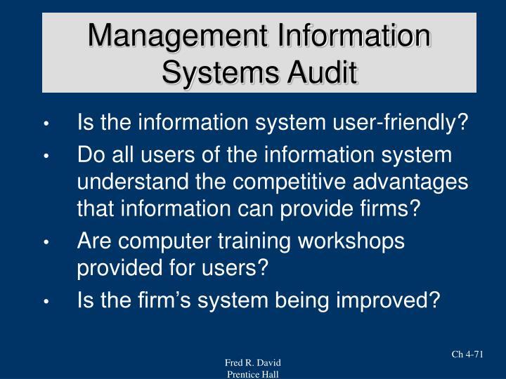 Management Information Systems Audit