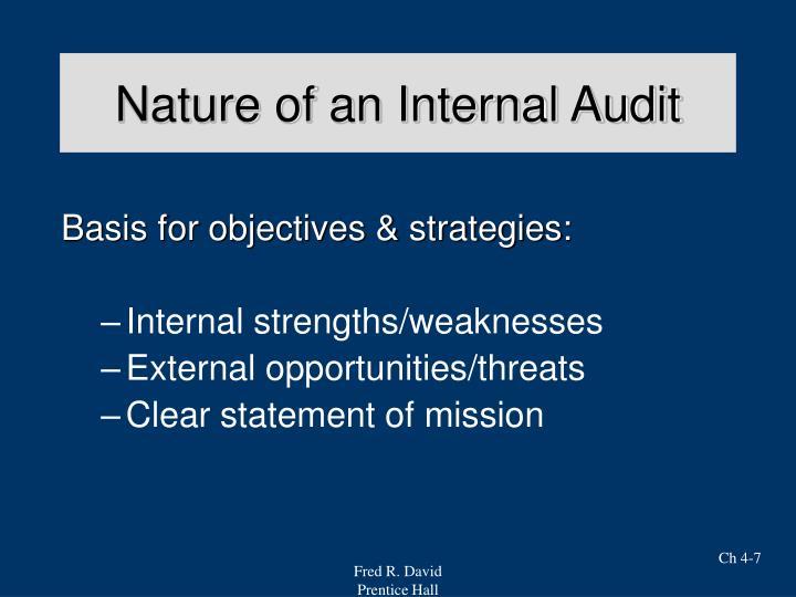 Nature of an Internal Audit