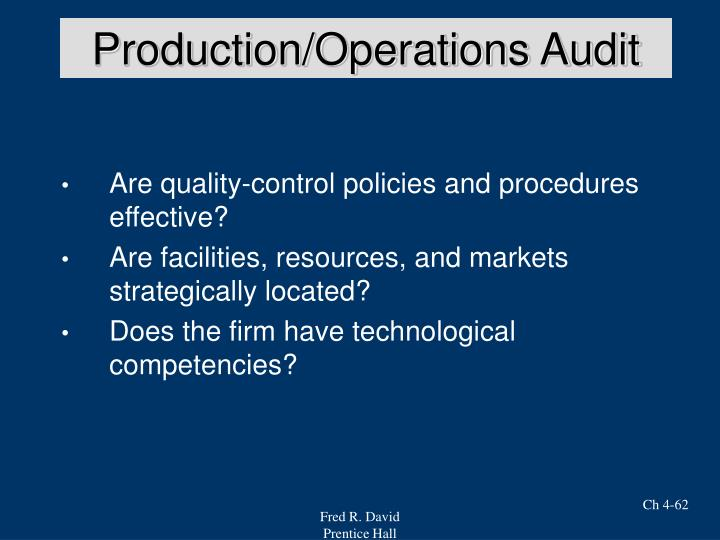 Production/Operations Audit