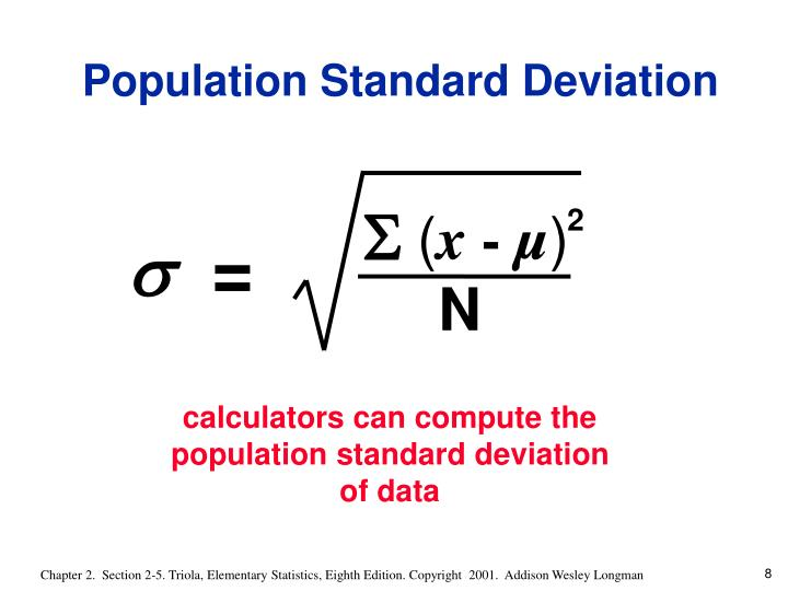 calculators can compute the population standard deviation of data