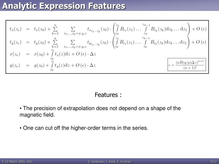 Analytic Expression Features