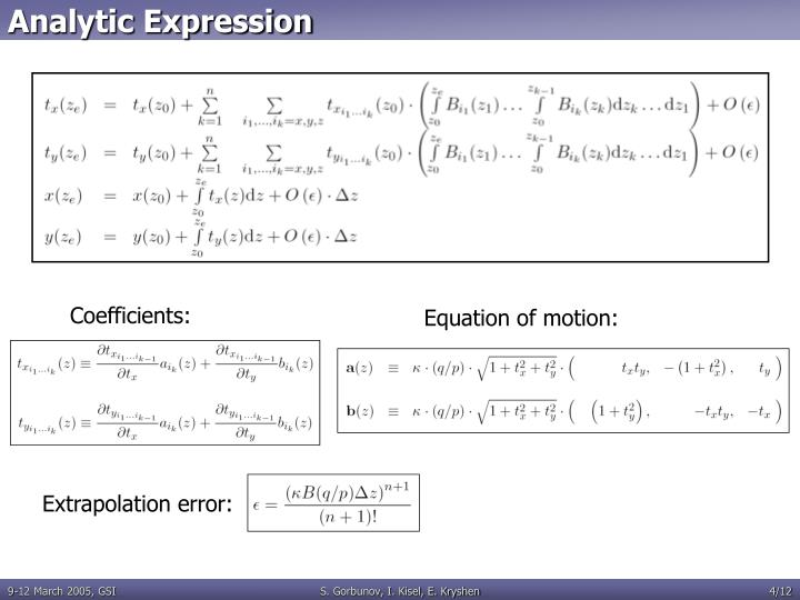 Analytic Expression