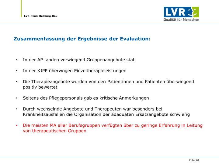 Zusammenfassung der Ergebnisse der Evaluation: