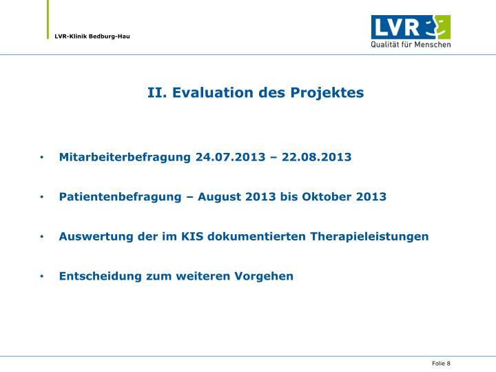 II. Evaluation des Projektes