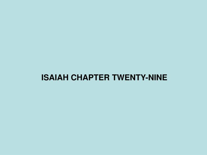 Isaiah chapter twenty nine