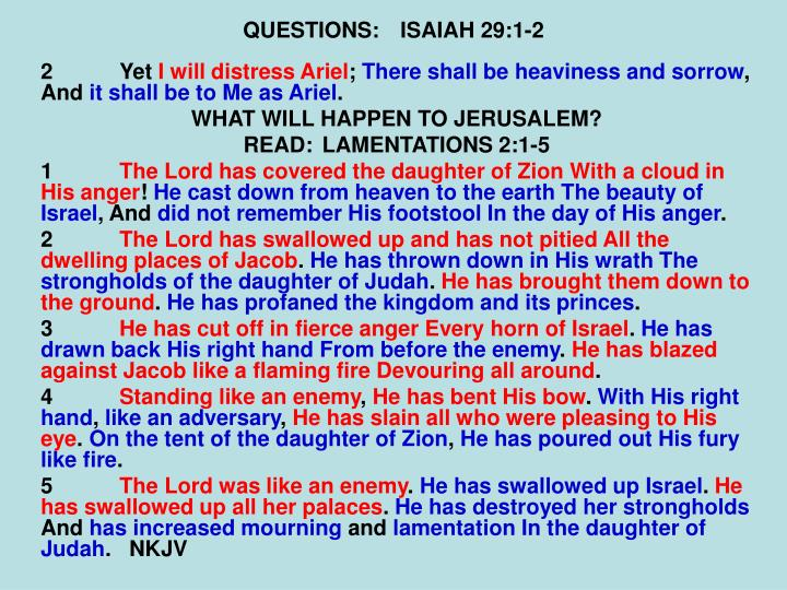 QUESTIONS:ISAIAH 29:1-2