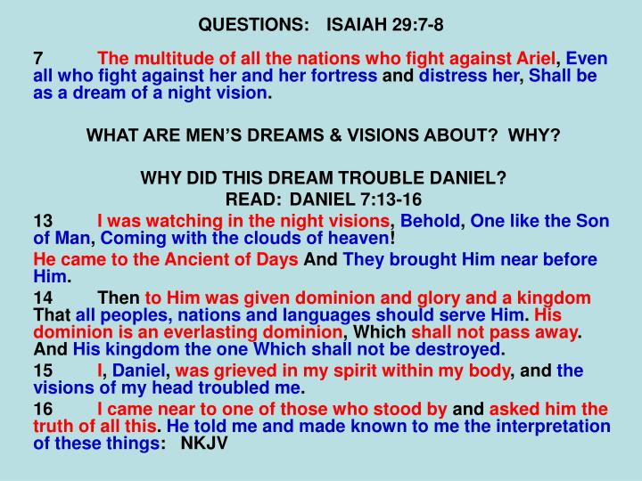 QUESTIONS:ISAIAH 29:7-8