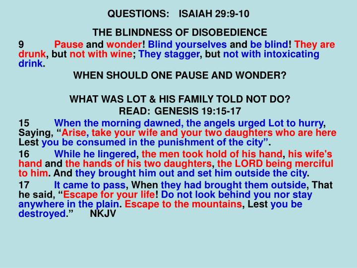QUESTIONS:ISAIAH 29:9-10