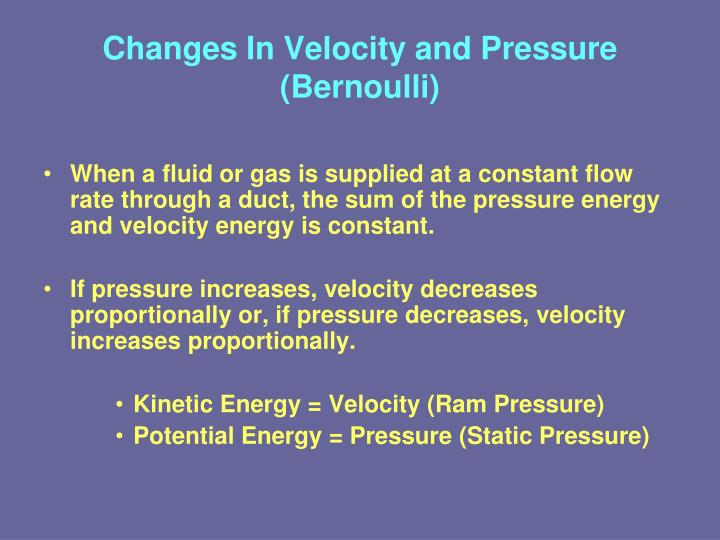relationship of velocity to height and pressure