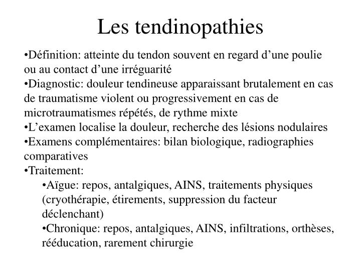 Les tendinopathies