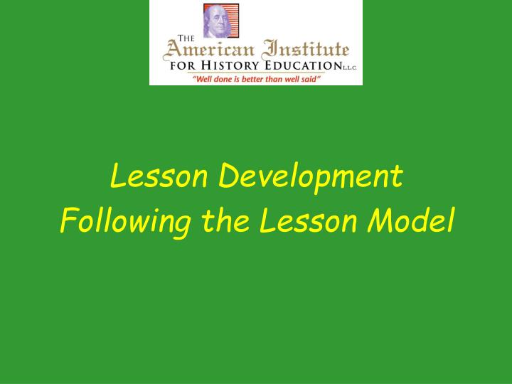 Lesson Development