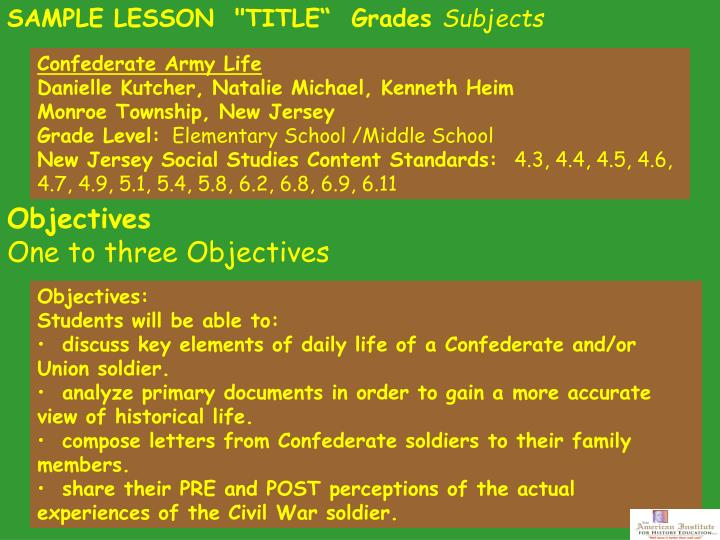 "SAMPLE LESSON  ""TITLE""  Grades"