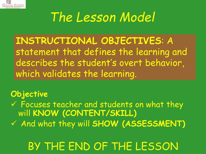 The Lesson Model