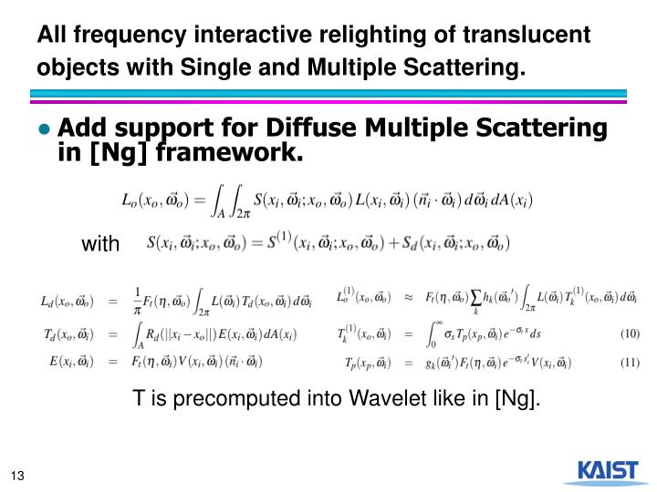 All frequency interactive relighting of translucent objects with Single and Multiple Scattering.