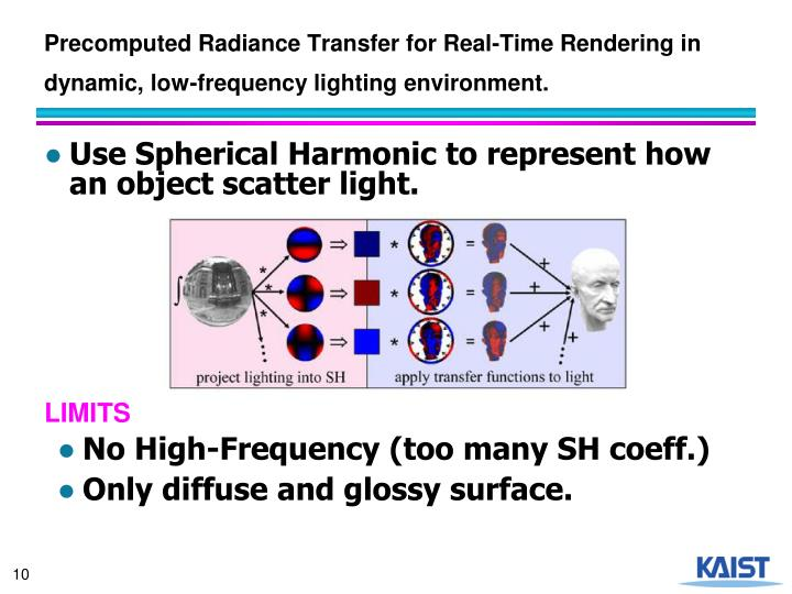 Precomputed Radiance Transfer for Real-Time Rendering in dynamic, low-frequency lighting environment.