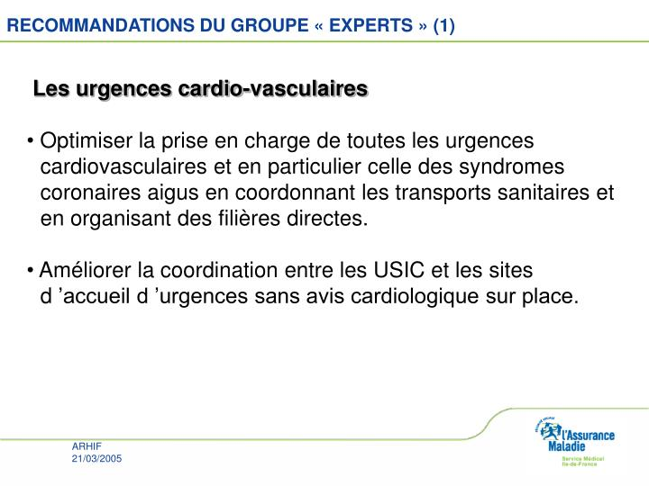 RECOMMANDATIONS DU GROUPE « EXPERTS » (1)