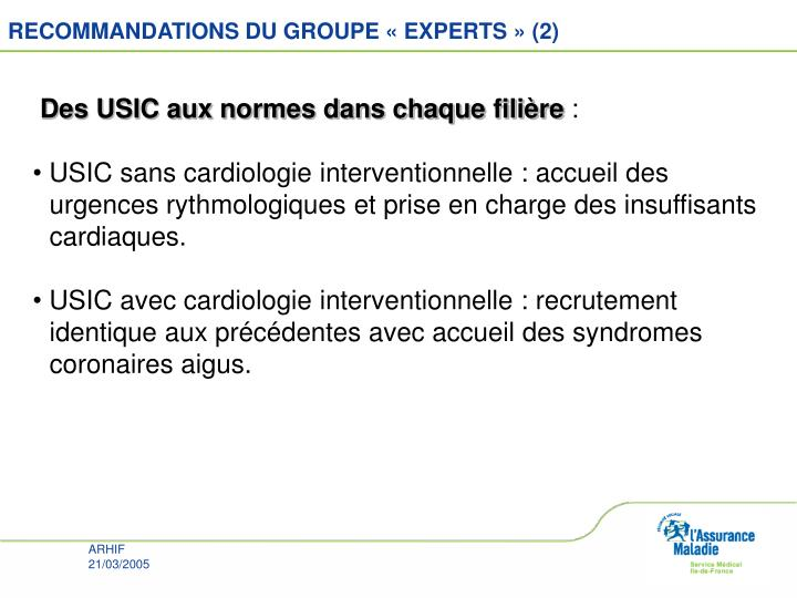 RECOMMANDATIONS DU GROUPE « EXPERTS » (2)