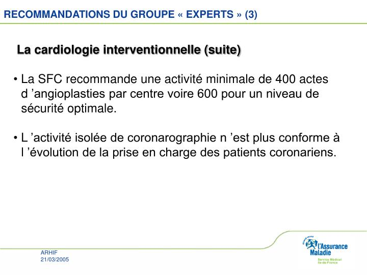 RECOMMANDATIONS DU GROUPE « EXPERTS » (3)