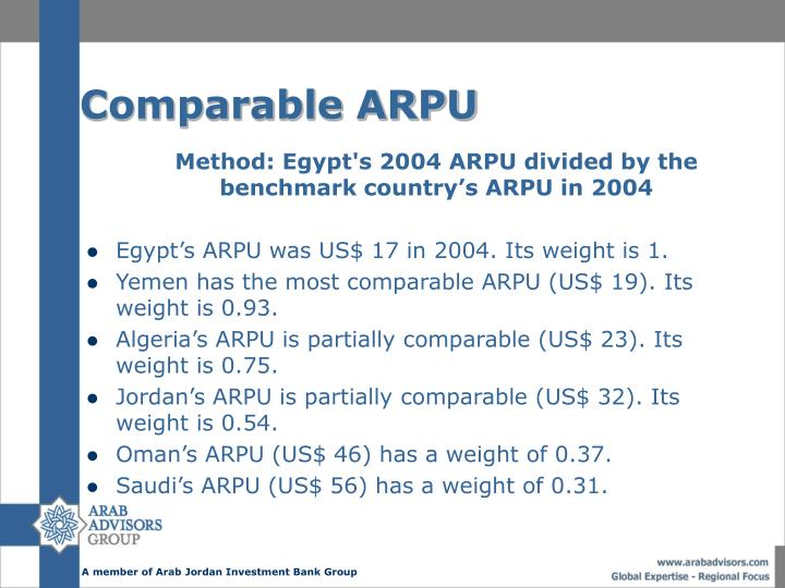 Comparable ARPU