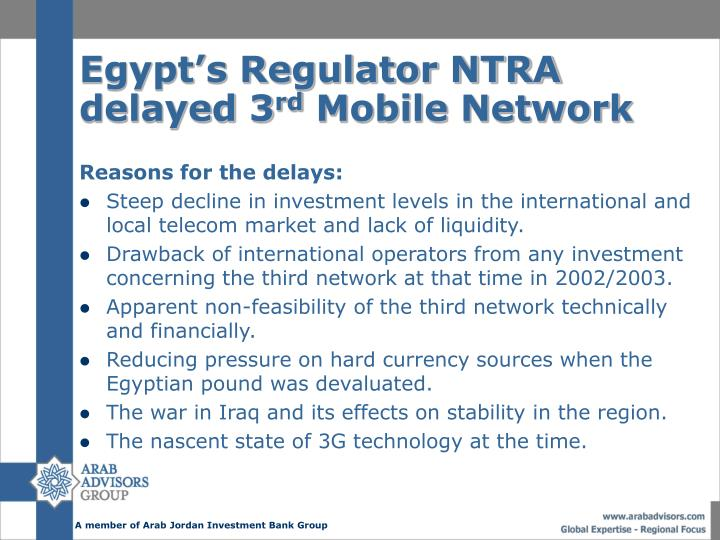 Egypt's Regulator NTRA delayed 3