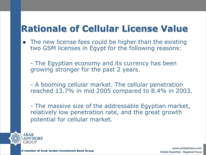 Rationale of Cellular License Value