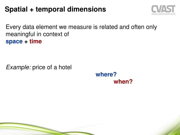 Spatial + temporal dimensions