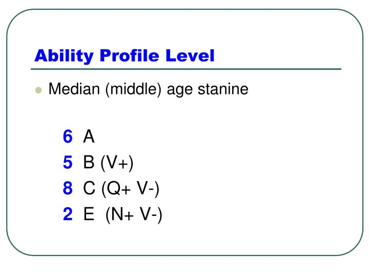 Ability Profile Level