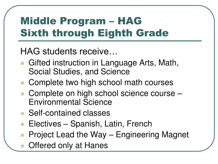 Middle Program – HAG