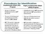 procedures for identification