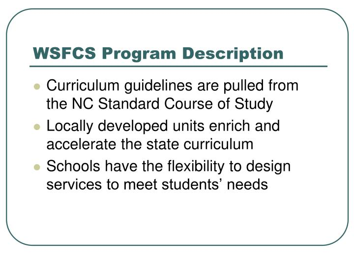 WSFCS Program Description
