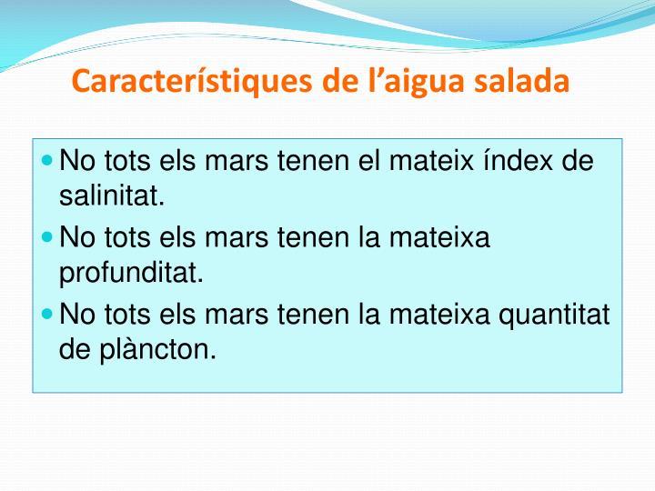 Característiques de l'aigua salada