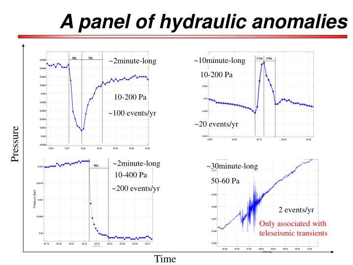 A panel of hydraulic anomalies