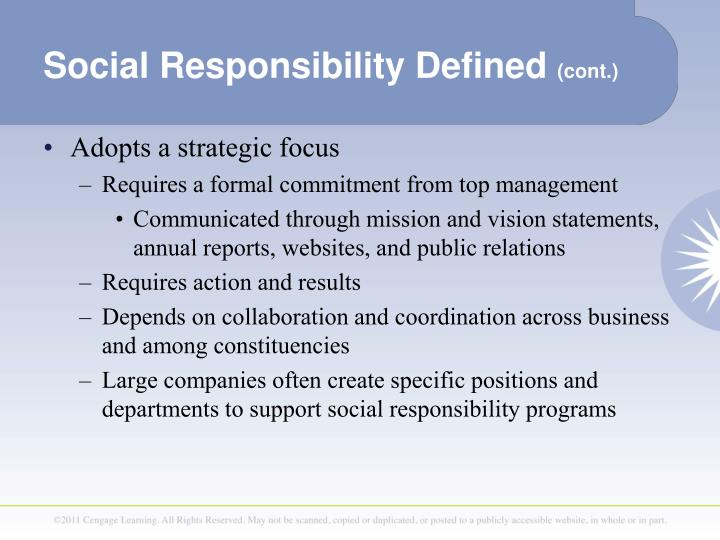corporate responsibility is defined in chapter