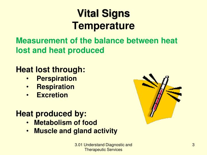Vital signs temperature
