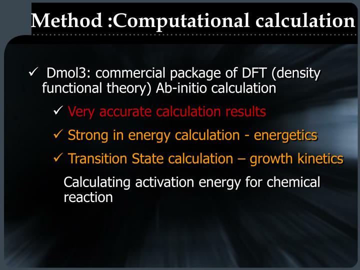 Method :Computational calculation