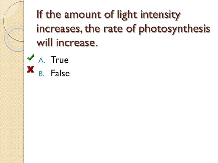 photosynthesis and light intensity