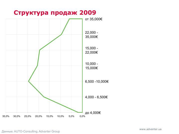 Структура продаж 2009