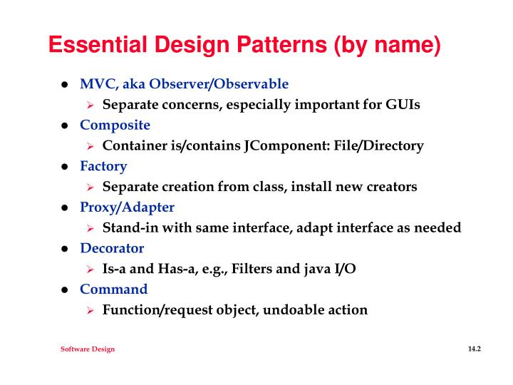 Essential design patterns by name