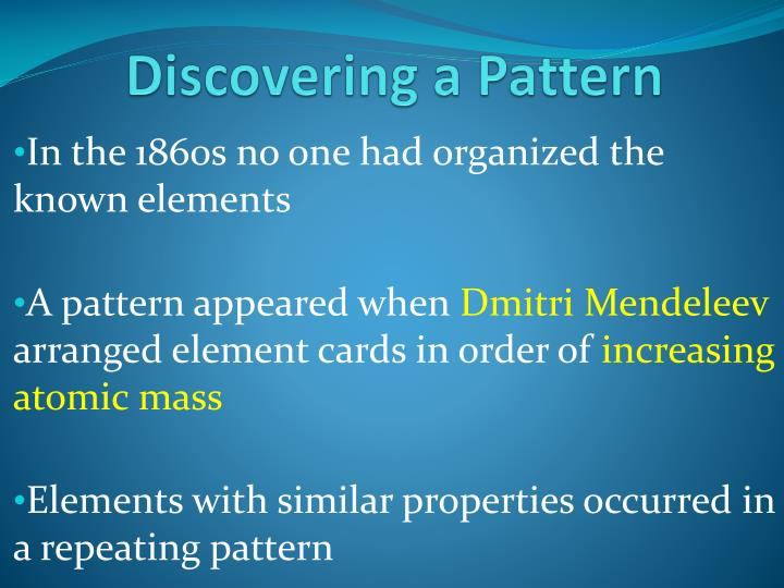 Discovering a Pattern