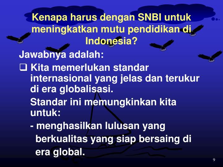 Kenapa harus dengan SNBI untuk meningkatkan mutu pendidikan di Indonesia?