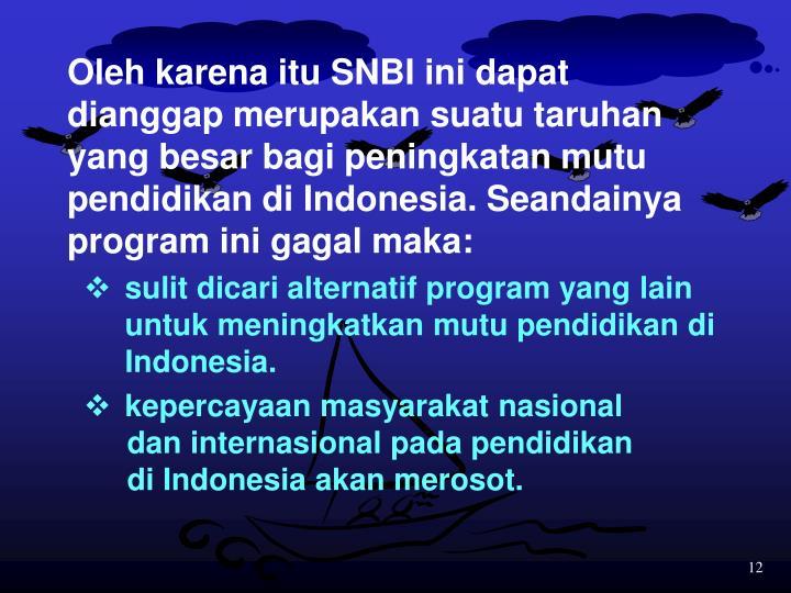 Oleh karena itu SNBI ini dapat dianggap merupakan suatu taruhan yang besar bagi peningkatan mutu pendidikan di Indonesia. Seandainya program ini gagal maka: